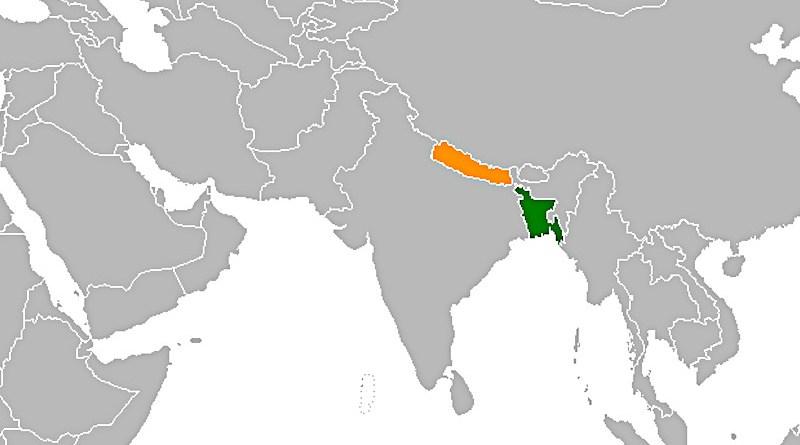 Location of Bangladesh (green) and Nepal. Credit: Wikipedia Commons
