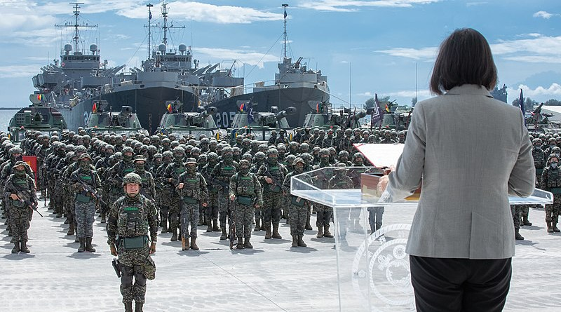 Taiwanese President Tsai Ing-wen reviews a Republic of China Marine Corps battalion in Kaohsiung in July 2020. (Photo via Ministry of National Defense of the Republic of China)