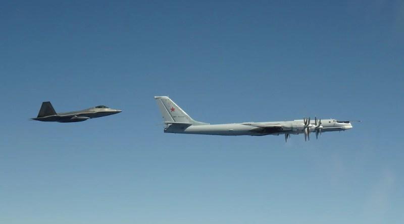 Base Elmendorf-Richardson, Alaska, intercepts a Russian Tu-95 Bear, June 9, 2020, near Alaska. Photo Credit: Courtesy of North American Aerospace Defense Command