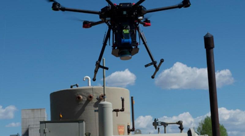A drone sniffs for methane leaks in Colorado. CREDIT: Sean Boggs/Environmental Defense Fund