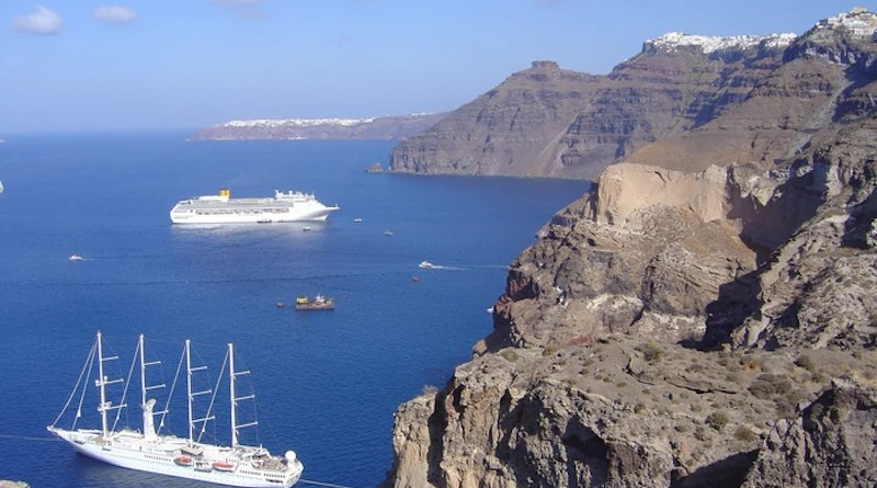 The cliffs of the volcanic island of Santorini showing the layers of deposits from past volcanic eruptions. CREDIT: Dr. Ralf Gertisser (Keele University)
