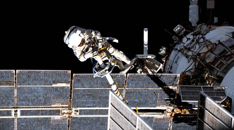 Expedition 65 flight engineer and Roscosmos cosmonaut Pyotr Dubrov, pictured during a spacewalk to perform work on the Pirs docking compartment. Credits: NASA