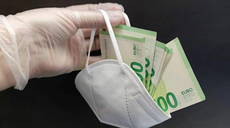 currency cash banknote euros covid-19 coronavirus Mask Money Cash Mouth Guard Euro Bribery