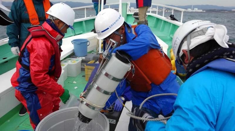 Seawater samples being taken near the Fukushima Daiichi plant (Image: IAEA)