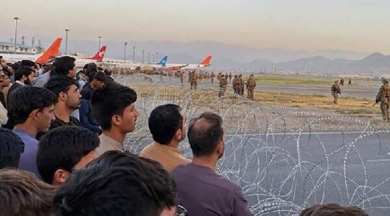 Scene in Kabul airport as civilian seek evacuation from Afghanistan. Photo Credit: Mehr News Agency