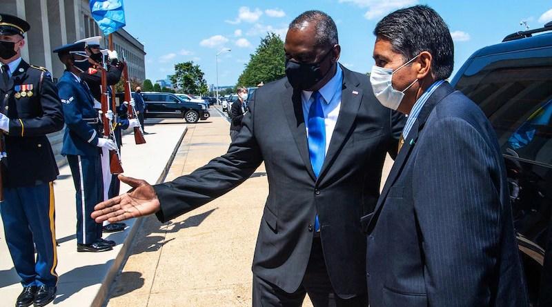Secretary of Defense Lloyd J. Austin III greets Palauan President Surangel Whipps Jr. for a meeting at the Pentagon, Aug. 5, 2021. Photo Credit: Air Force Staff Sgt. Jack Sanders, DOD