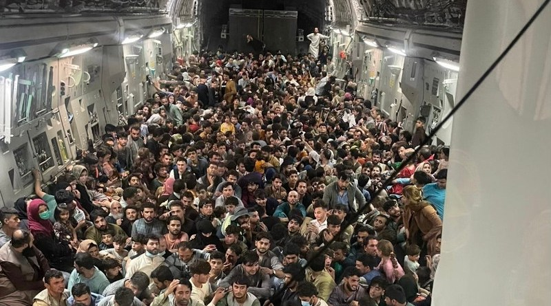 A C-17 evacuating around 640 passengers out of Kabul, Afghanistan on August 15, 2021. Photo Credit: Air Mobility Command Public Affairs, USAF, Wikipedia Commons