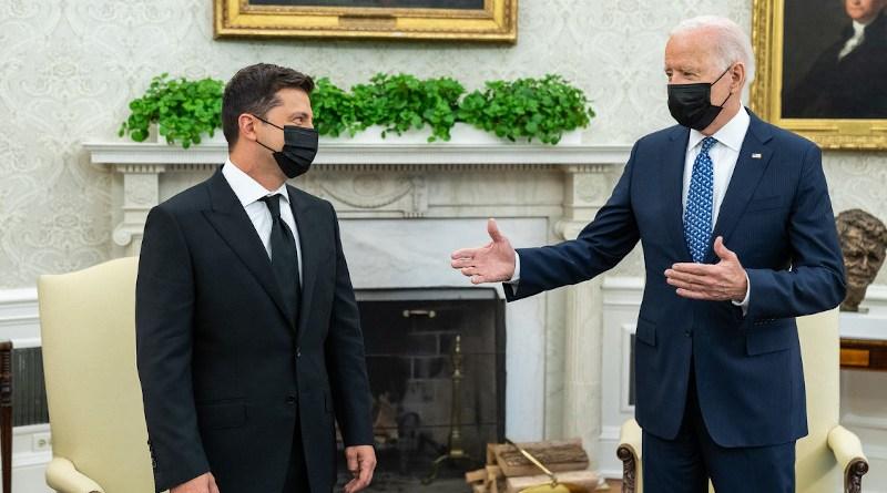 US President Joe Biden with Ukraine's President Volodymyr Zelenskiy at the White House. Photo Credit: The White House