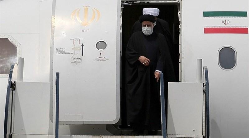 Iran's President Ebrahim Raisi departs plane. Photo Credit: Tasnim News Agency