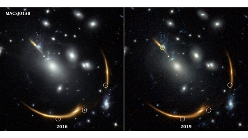 Three views of the same supernova appear in the 2016 image on the left, taken by the Hubble Space Telescope. But they're gone in the 2019 image. The distant supernova, named Requiem, is embedded in the giant galaxy cluster MACS J0138. The cluster is so massive that its powerful gravity bends and magnifies the light from the supernova, located in a galaxy far behind it. Called gravitational lensing, this phenomenon also splits the supernova's light into multiple mirror images, highlighted by the white circles in the 2016 image. The multiply imaged supernova disappears in the 2019 image of the same cluster, at right. The snapshot, taken in 2019, helped astronomers confirm the object's pedigree. Supernovae explode and fade away over time. Researchers predict that a rerun of the same supernova will make an appearance in 2037. The predicted location of that fourth image is highlighted by the yellow circle at top left. The light from Supernova Requiem needed an estimated 10 billion years for its journey, based on the distance of its host galaxy. The light that Hubble captured from the cluster, MACS J0138.0-2155, took about four billion years to reach Earth. The images were taken in near-infrared light by Hubble's Wide Field Camera 3. Credits: IMAGE PROCESSING: Joseph DePasquale (STScI)
