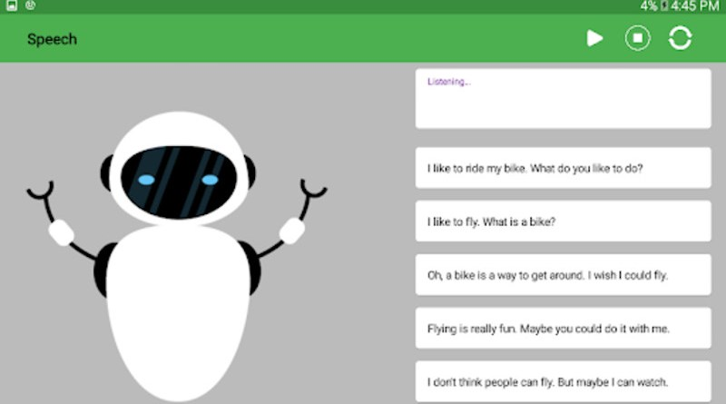 A team led by University of Washington studied whether hanging out with conversational agents, such as Alexa or Siri, could affect the way children communicate with their fellow humans. For the first part of the study, children spoke to a simple animated robot or cactus on a tablet screen that also displayed the text of the conversation. Shown here is a screenshot of a prototype of the interface. CREDIT: University of Washington