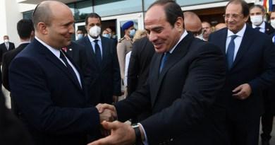 Israel's Prime Minister Naftali Bennett with Egypt's President Abdel Fattah El-Sisi. Photo Credit: Israel Government Press Office