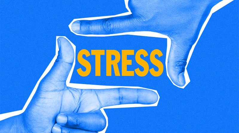 Reframing a stress response like sweaty palms or a racing heart can make a big difference to a person's mental health, general wellbeing, and success, according to University of Rochester psychologists. CREDIT University of Rochester illustration / Julia Joshpe