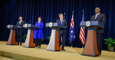Australian Defense Minister Peter Dutton, Australian Foreign Minister Marise Payne, Secretary of State Antony Blinken and Secretary of Defense Lloyd J. Austin III hold a press conference on the recommendations of the Australia-U.S. Ministerial Consultations at the State Department, Sept. 16, 2021. Photo Credit: Air Force Staff Sgt. Jackie Sanders, DOD