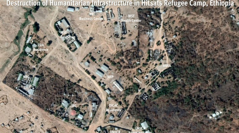 Satellite image collected after the destruction of Hitsats refugee camp, in Ethiopia's northern Tigray region offers a snapshot of the extensive damage to humanitarian infrastructure. Satellite image from January 27, 2021. © Maxar Technologies. Source: Google Earth. Analysis and graphic © Human Rights Watch.