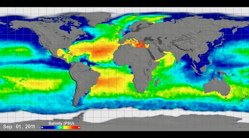 Rectangular flat map projection (Atlantic-centered) with grid lines showing Sea Surface Salinity measurements taken by Aquarius space craft between September 2011 and September 2014. CREDIT: NASA, Scientific Visualization Studio