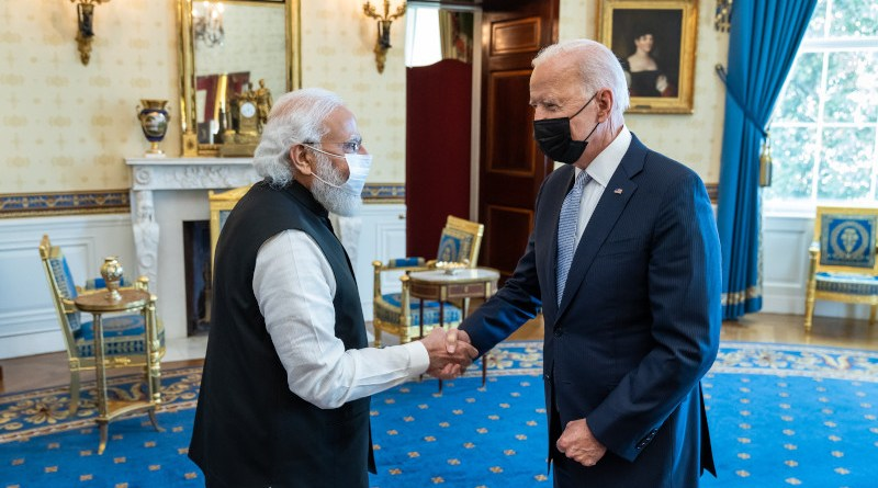 India's Prime Minister Narendra Modi with US President Joe Biden in the White House Oval Office. Photo Credit: The White House