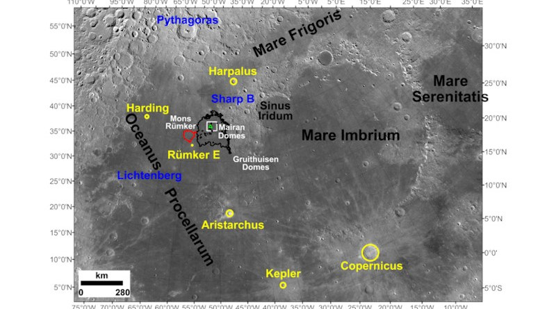 Image showing the location of the Chang'e-5 landing site (43.06°N, 51.92°W) and adjacent regions of the Moon, as well as impact craters that were examined as possible sources of exotic fragments among the recently returned lunar materials. CREDIT: Qian et al. 2021