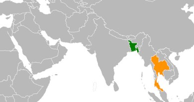 Locations of Bangladesh (green) and Thailand. Credit: Wikipedia Commons