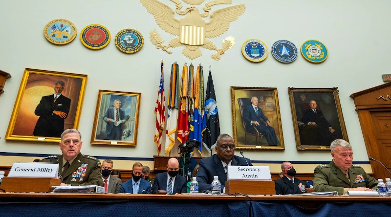 Secretary of Defense Lloyd J. Austin III, Army Gen. Mark A. Milley, chairman of the Joint Chiefs of Staff, and Marine Corps Gen. Kenneth F. McKenzie, commander of U.S. Central Command, testify before the House Armed Services Committee on the conclusion of military operations in Afghanistan, Sept. 29, 2021. Photo Credit: Chad McNeeley, DOD