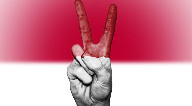 indonesia flag peace hand