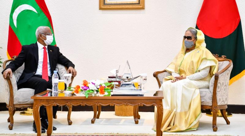 Maldives' President Ibrahim Mohamed Solih meets with Bangladesh's Prime Minister Sheikh Hasina in Dhaka. Photo Credit: Maldives President Office