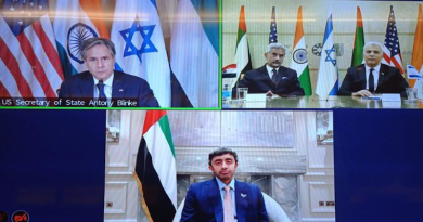 United States Secretary of State Antony Blinken, top left, held a virtual meeting with Israel's Foreign Minister Yair Lapid, left in picture at top right, India's External Affairs Minister S. Jaishankar, seated next to him, and United Arab Emirates Foreign Minister Sheikh Abdullah bin Zayedon Monday, October 18, 2021. (Photo: Twitter)