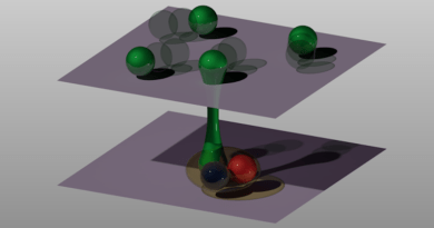 When holes (shown in green) in one layer spatially overlap with excitons (black and red) in the other, then a hole can tunnel and form a Feshbach molecule with the exciton. CREDIT: Yuya Shimazaki