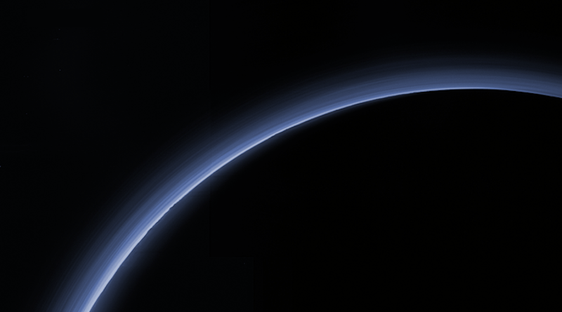 When Pluto passed in front of a star on the night of August 15, 2018, a SwRI-led team of astronomers measured the abundance of Pluto's atmosphere, shown here in New Horizons 2015 flyby data, as it was briefly backlit by the well-placed star. These data indicate that the surface pressure on Pluto is decreasing and that its nitrogen atmosphere is condensing, forming ice on its surface as the object moves away from the Sun. CREDIT: NASA/JHU-APL/SwRI