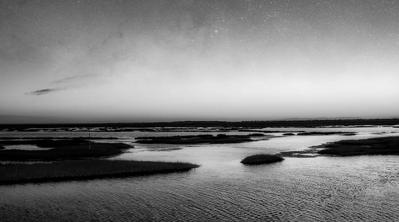 New Jersey Sunset Sunrise Black And White Sea marsh ocean