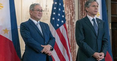 US Secretary of State Antony Blinken with Philippine Foreign Secretary Teodoro Locsin, Jr. Photo Credit: US State Department video screenshot