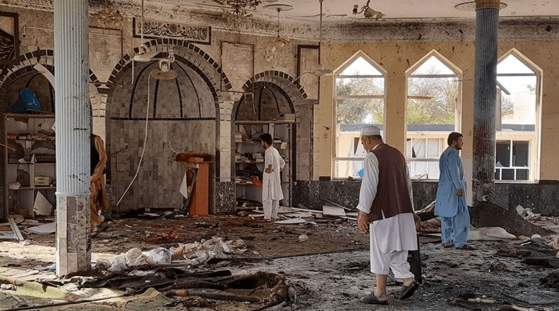 Aftermath of bomb attack on a Shiite mosque in the Afghan city of Kunduz. Photo Credit: Tasnim News Agency