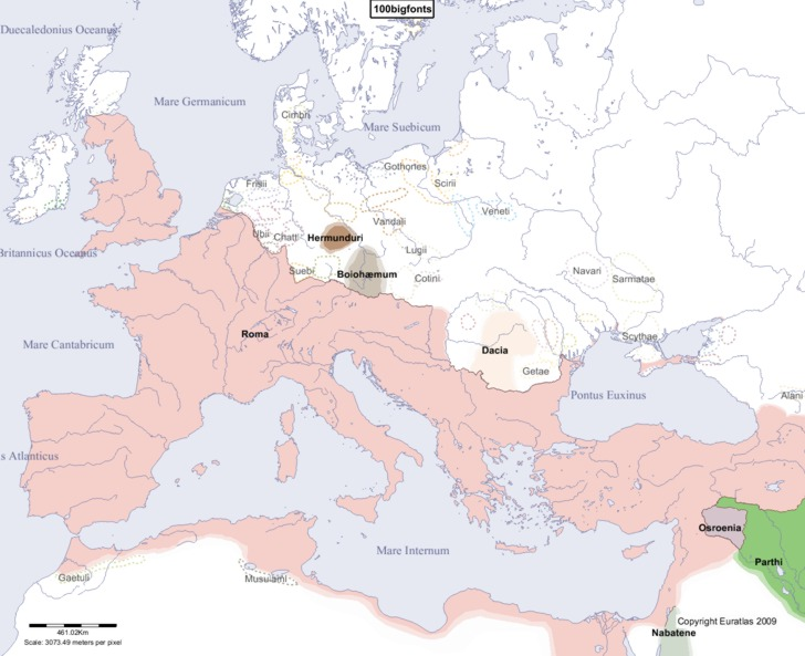 Complete Map of Europe in Year 100