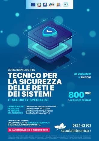 Corso IFTS Tecnico per la sicurezza delle reti e dei sistemi IT Security Specialist – Edizione 2020
