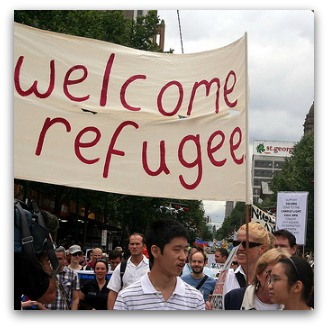 'Welcome refugee' banner