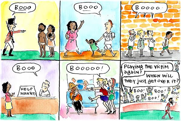 Fiona Katauskas' cartoon 'The Goodes, the Bad and the Ugly' portrays various situations of Aboriginal people being victimised then being blamed for acting like victims