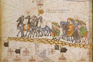 caravane sur la route de la soie. Atlas catalan,c. 1380