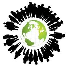 image de la terre entourée de silhouettes humaines