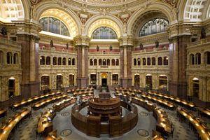 photo de la grande salle de la Bibliothèque du Congrès