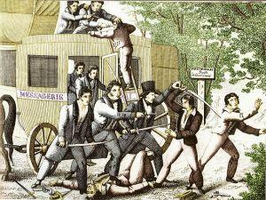 attaque du courrier de Lyon en 1796, gravure populaire