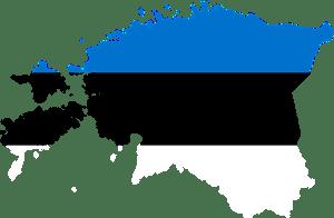 image vectorielle de l'Estonie avec les couleurs de son drapeau bleu, noir, blanc