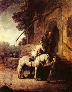 Le bon Samaritain par Rembrandt 1633