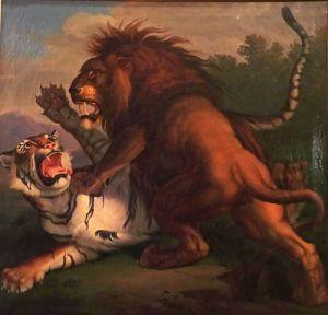 Tableau de Peter Wenzel représentant un combat entre un tigre et un lion