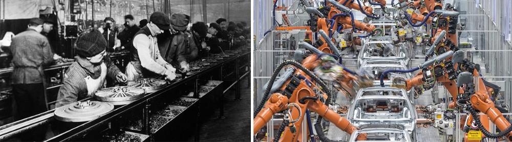 Solda Ford Otomobil Fabrikası'nda 1914 yılında çekilmiş bir fotoğraf. İşçiler tek tek otomobil jantları üzerinde çalışıyor. Sağda ise Wolkswagen Otomobil Fabrikası'nda günümüzde çekilmiş bir fotoğraf. İşçilerin yerini robotlar almış, tek bir işçi dahi görmeniz neredeyse imkansız.