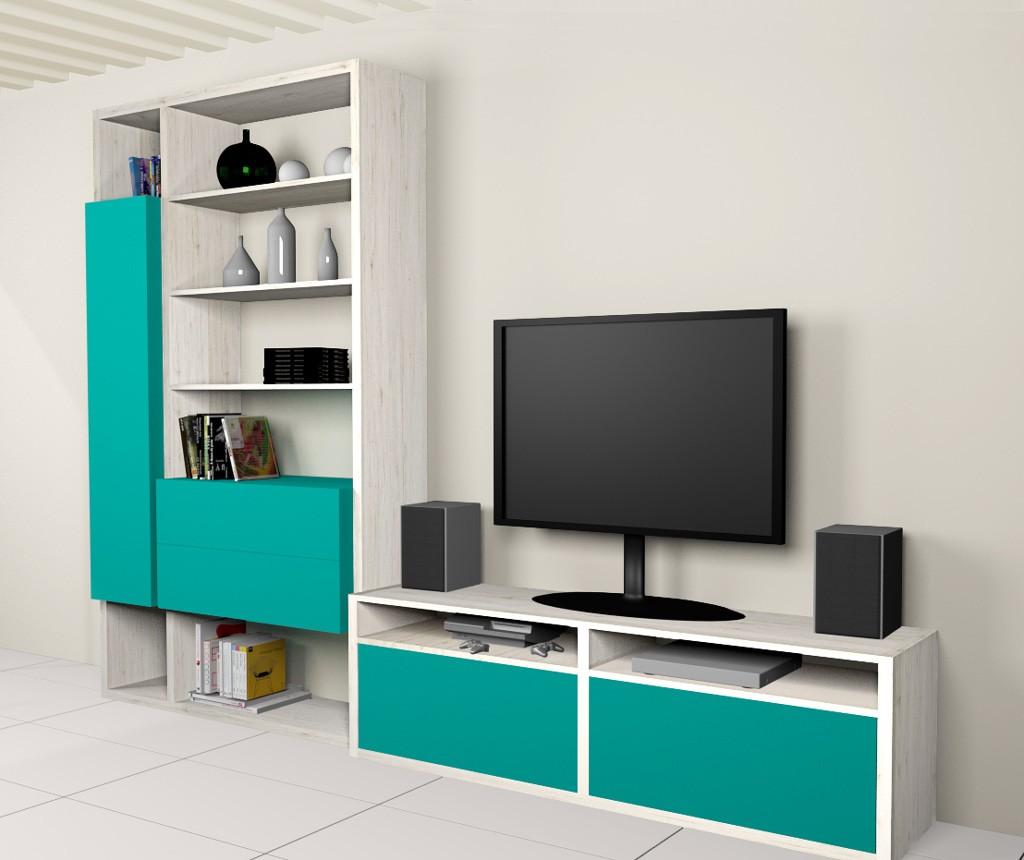 meuble bibliotheque et tv composition