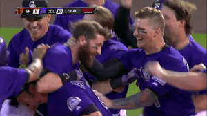 Rockies joy after the victory against the Giants!