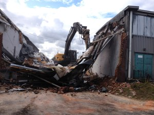 Demolition of clothing factory