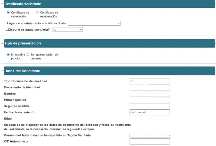 Certificado de vacinação covid-19 Espanha