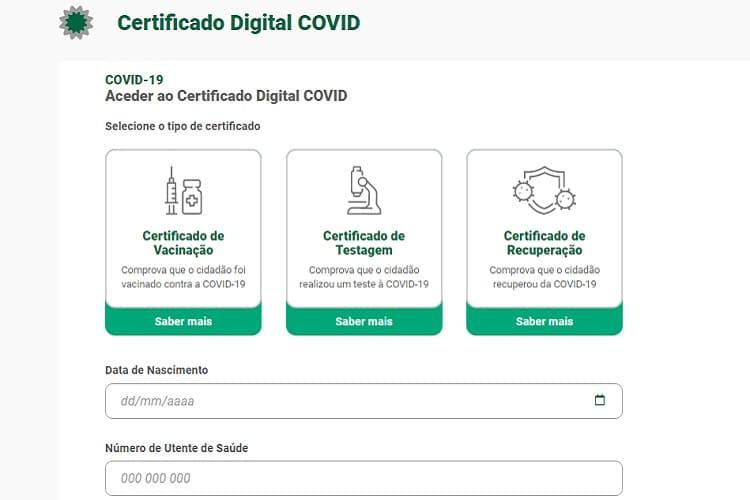 Certificado de vacinação covid-19 Portugal