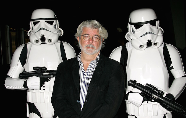 "HOLLYWOOD - OCTOBER 03: ***EXCLUSIVE ACCESS*** Director George Lucas presents the film ""Star Wars - Episode IV: A New Hope"" at AFI's 40th Anniversary celebration presented by Target held at Arclight Cinemas on October 3, 2007 in Hollywood, California. (Photo by David Livingston/Getty Images for AFI)"